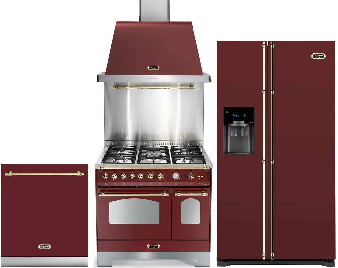 kj kkenpakke lofra dolce vita 90 cm bordeauxr d messing gas range cookers fra. Black Bedroom Furniture Sets. Home Design Ideas